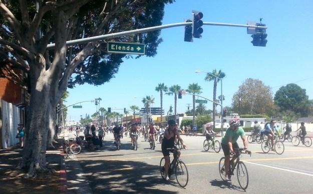 Cyclists along Washington Boulevard in Culver City.