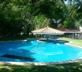 Vicente Fernandez's guitar-shaped pool.