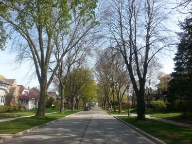 Yet another spring streetscene in Shorewood, WI.