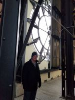 Bill at one of the clock faces.