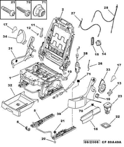 Peugeot 1007; Front seat; airbag warning