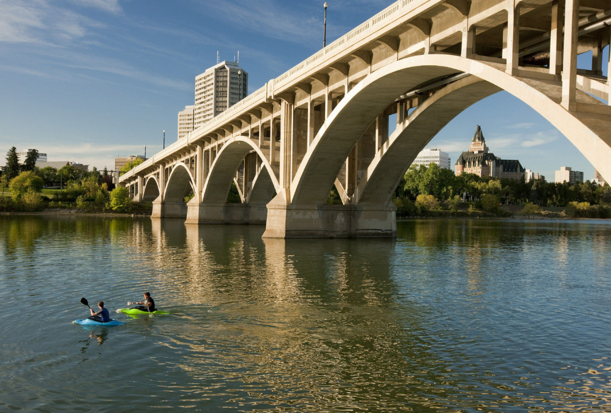 Kayaking the S. Saskatchewan River is a great way to see downtown Saskatoon.