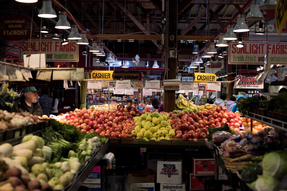 The Granville Island Market is a great place to pick up fresh produce. PHOTO COURTESY DESTINATION BC AND KAMIL BIALOUS