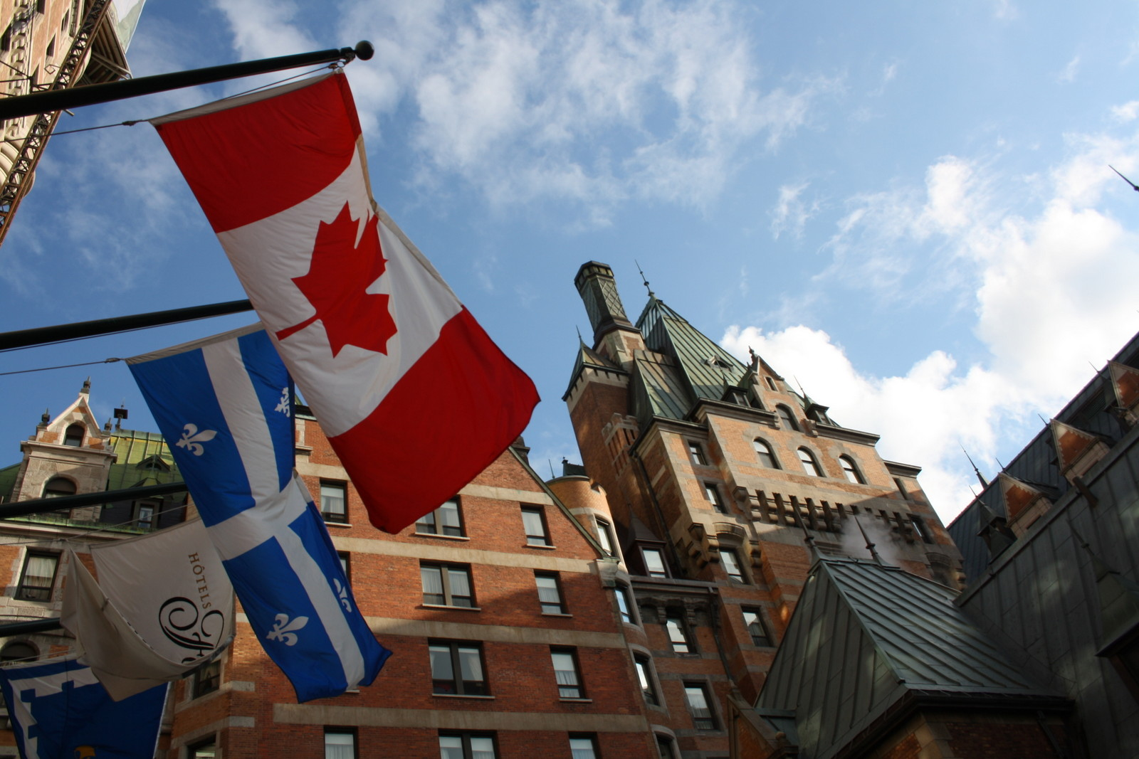 You'll see both the Quebec and Canadian flags at the Fairmont Chateau Frontenac in Quebec City. JIM BYERS PHOTO