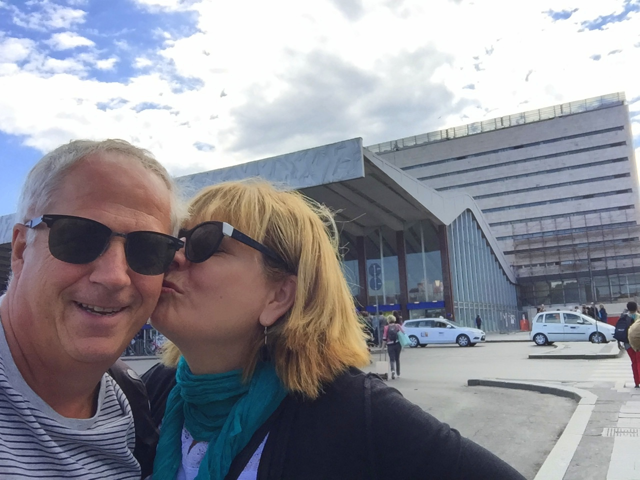 Barb sneaks a kiss for the camera outside the main train station in Rome, where we met in 1979. This year marks our 35th wedding anniversary.