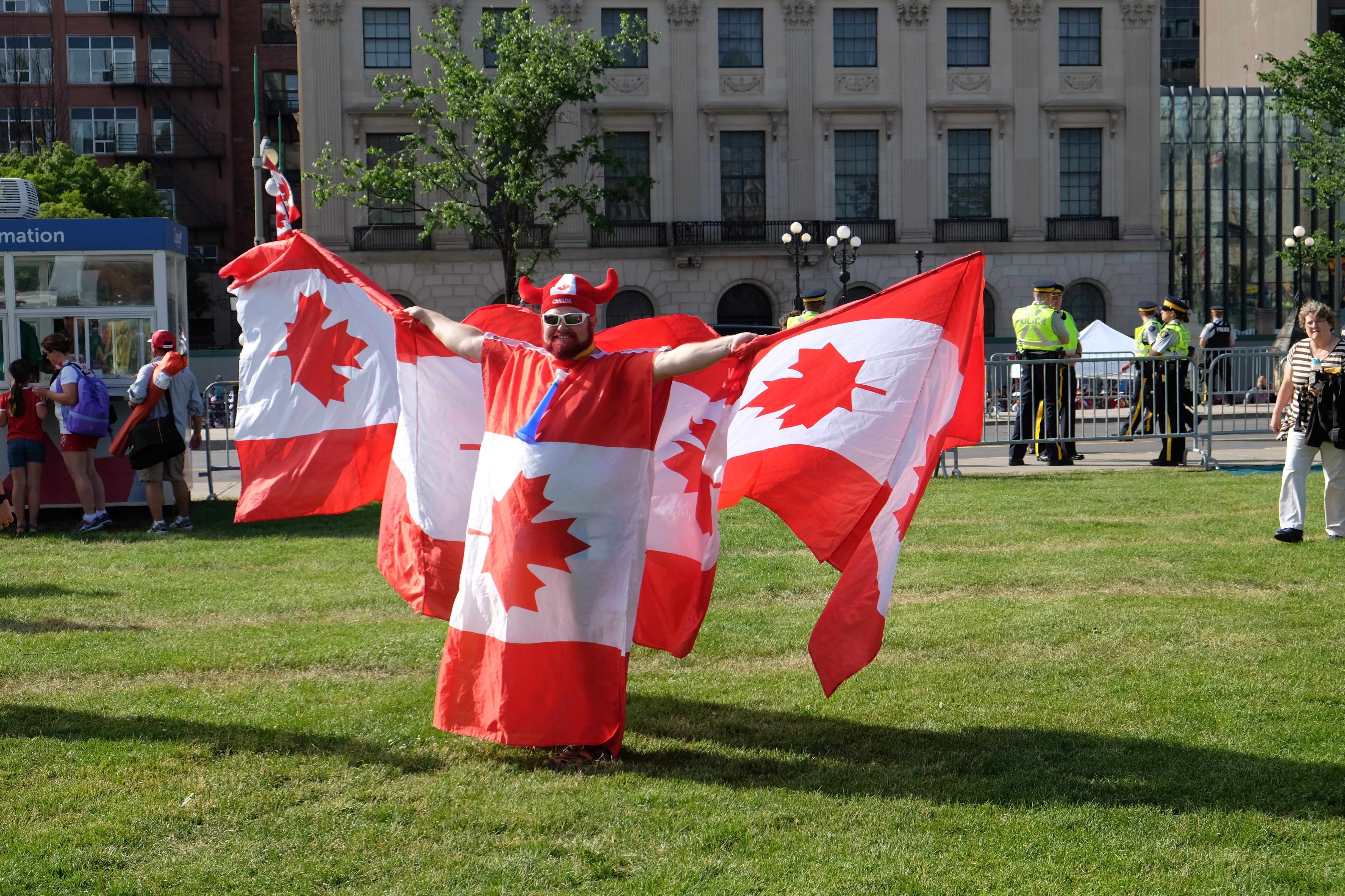 Not much subtlety here, but I like this guy's outfit as we got ready for the changing of the guard on Parliament Hill on Friday morning.