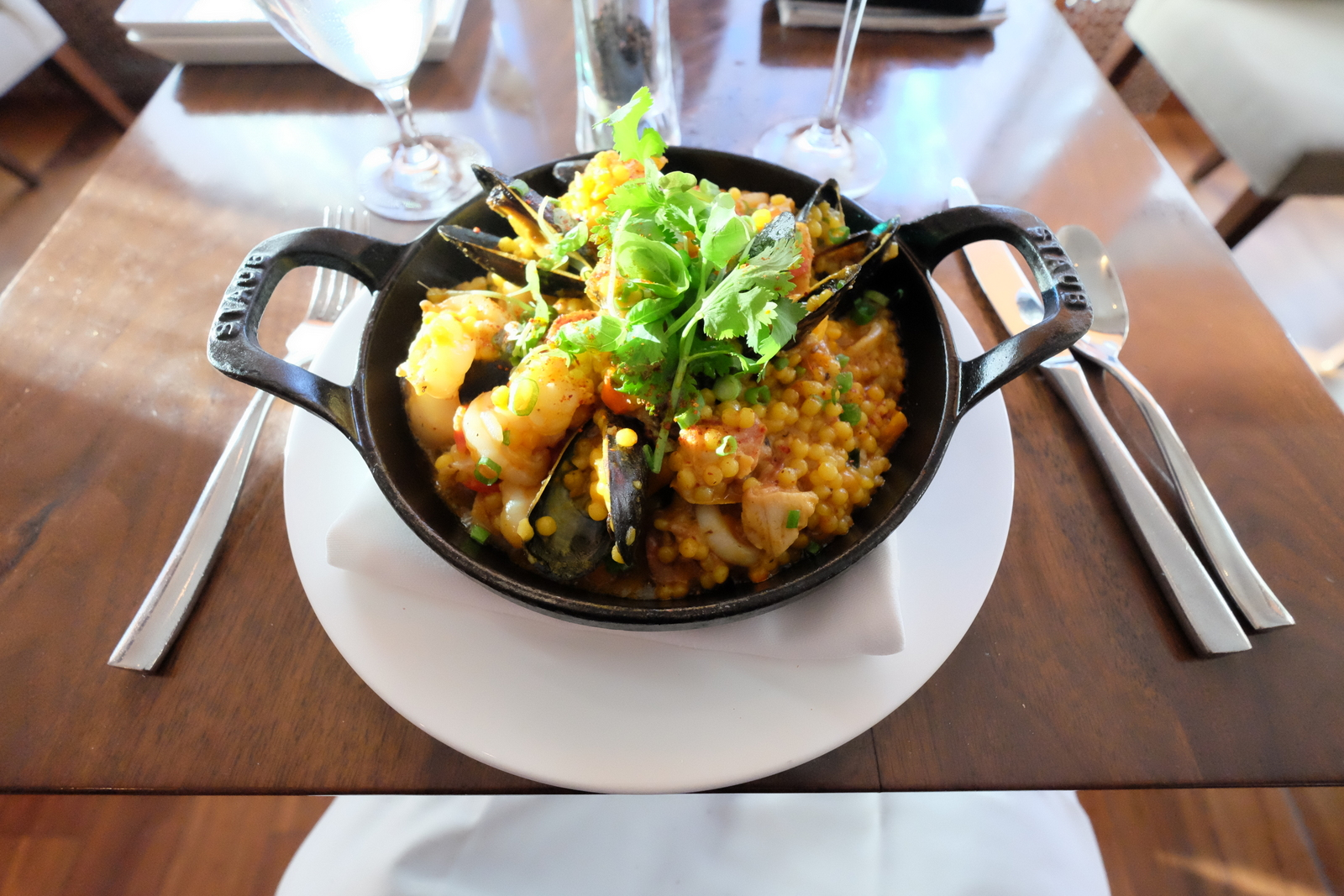 Located at the posh Conrad New York, Atrio restaurant serves up great paella and outrageously good meatballs. JIM BYERS PHOTO