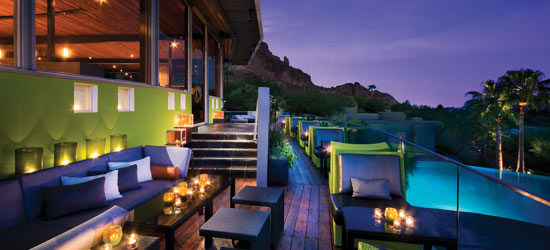 The outdoor dining spot at elements restaurant at Sanctuary on Camelback is particularly beautiful at sunset.