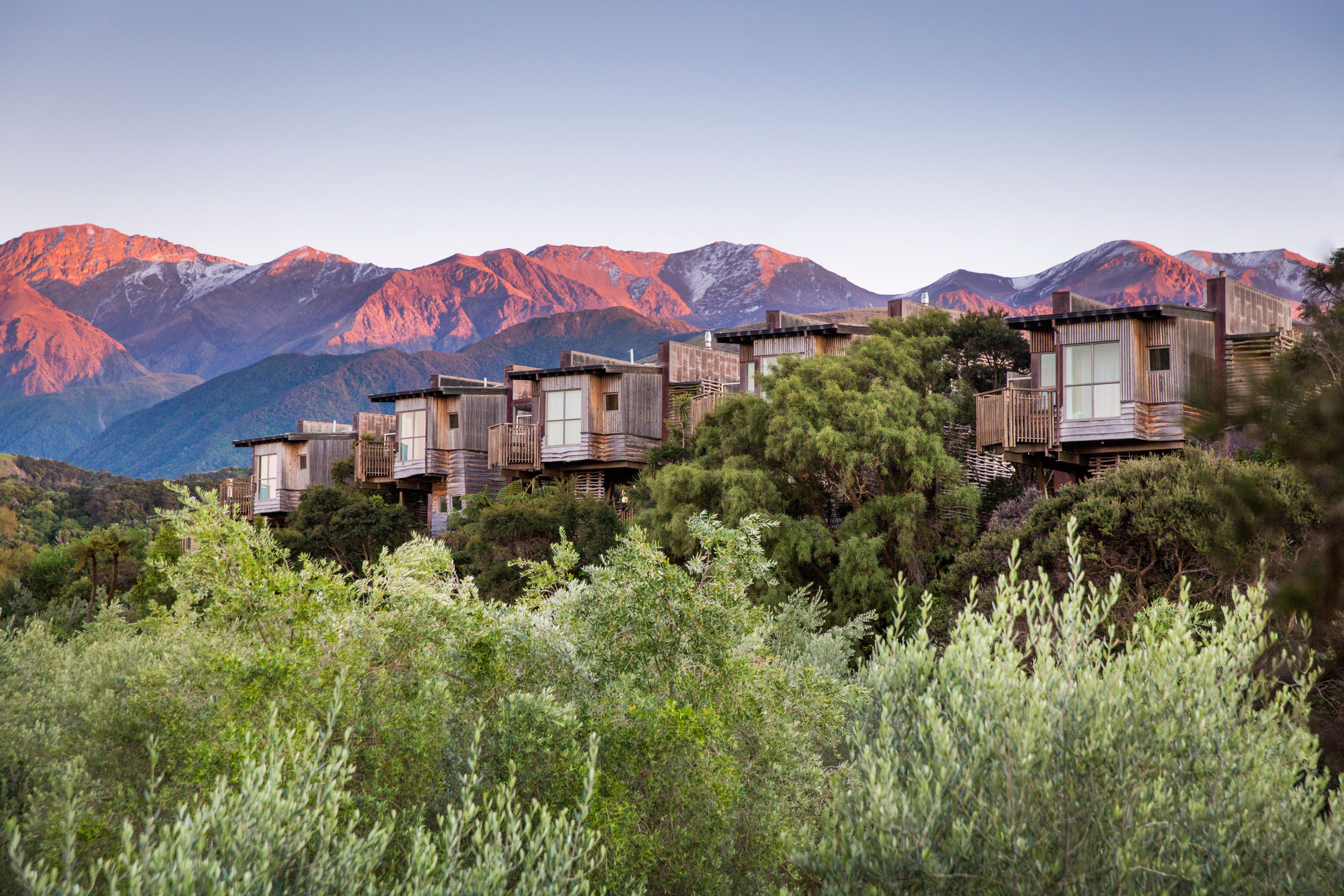 Hapuku Lodge and Treehouses is both an unusual and unusually luxurious property on the South Island of New Zealand.