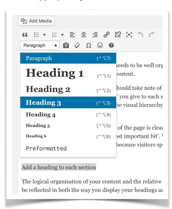 Adding a heading to a WordPress page using the toolbar