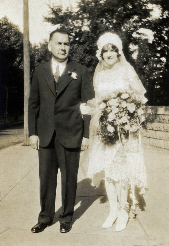 My grandmother, Marie Bourassa Fisher on her wedding day, August 13, 1928. With her Uncle Albert, who gave her away.