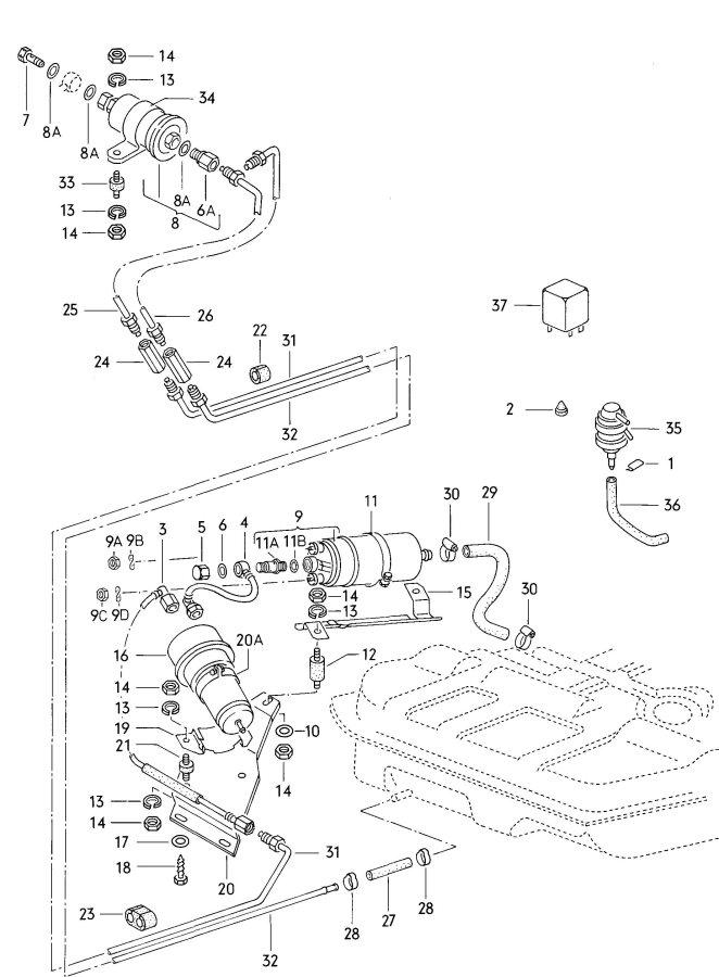 1979 Audi Accumulator fuel filter fuel pump fuel line 5