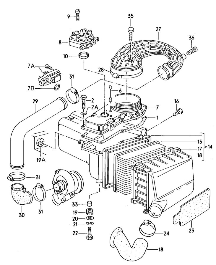 Audi 5000 Quattro Turbo Mass air flow sensor fuel metering