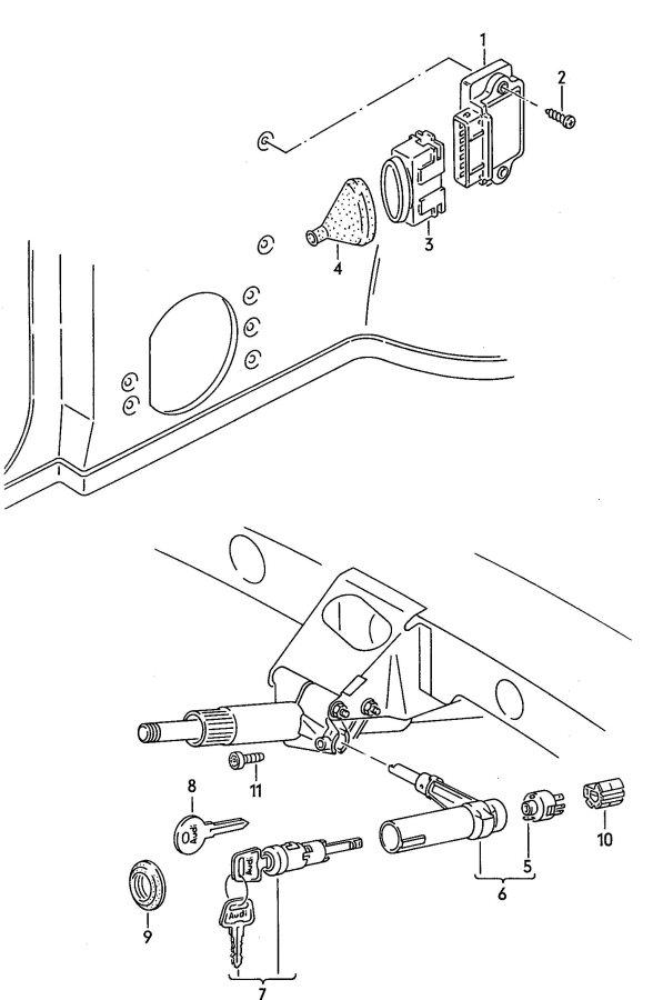 1989 Audi 100 2.3L Ignition starter switch transistor coil