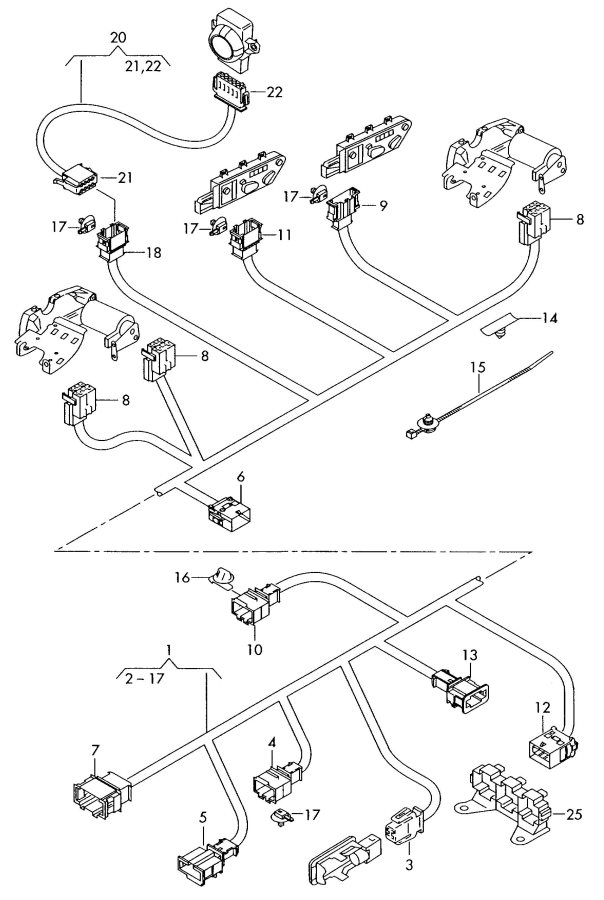 2007 Audi A4 Cabriolet Adapter wiring harness for single