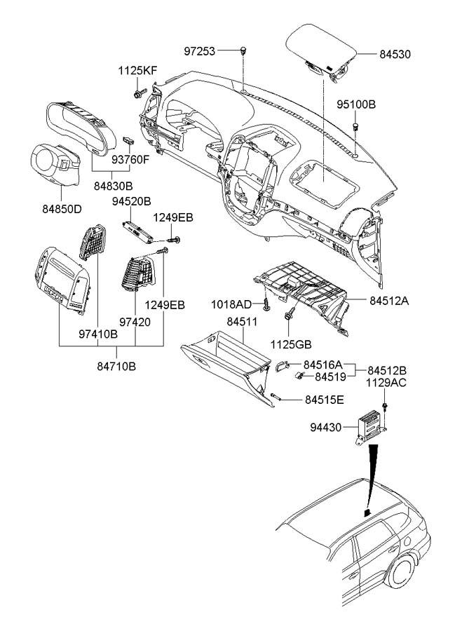 2009 Hyundai Santa Fe FRONT DASH PANEL (DASHBOARD)
