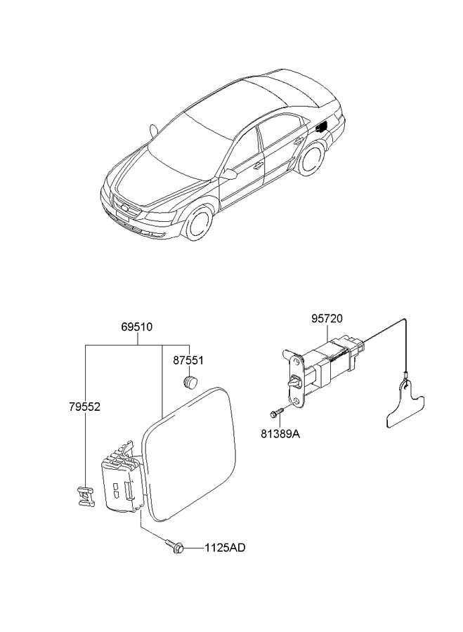 2010 Hyundai Sonata FUEL FILLER DOOR (GAS TANK DOOR)