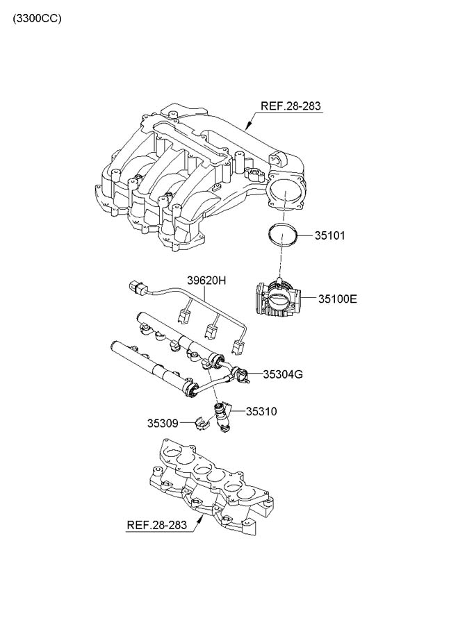 2007 Hyundai Sonata THROTTLE BODY & INJECTOR