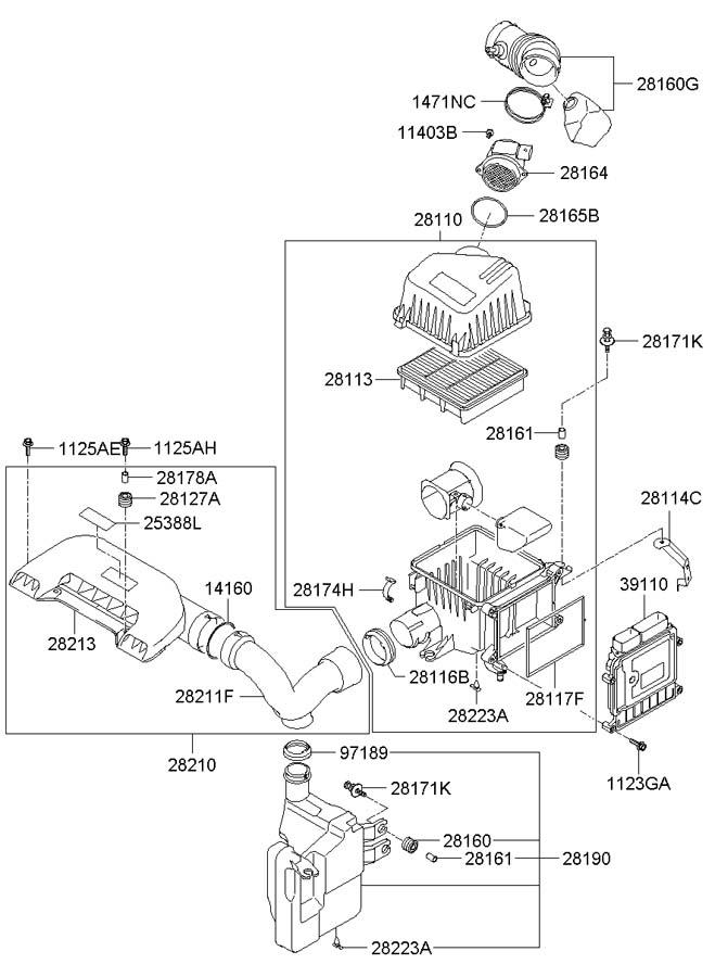 2005 Hyundai Sonata AIR INTAKE SYSTEM & ECU