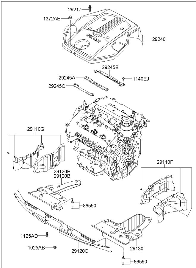 Service manual [2007 Hyundai Azera Remove Engine Assembly