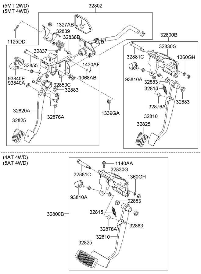 2007 Hyundai Santa Fe PEDAL ASSEMBLIES & COMPONENTS