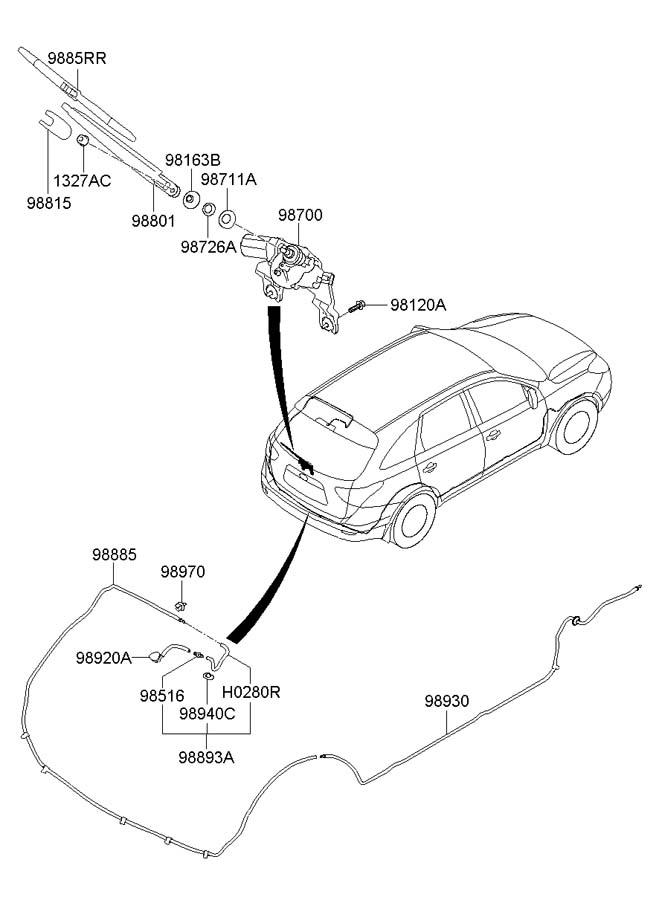 2007 Hyundai Veracruz REAR WIPER & WASHER