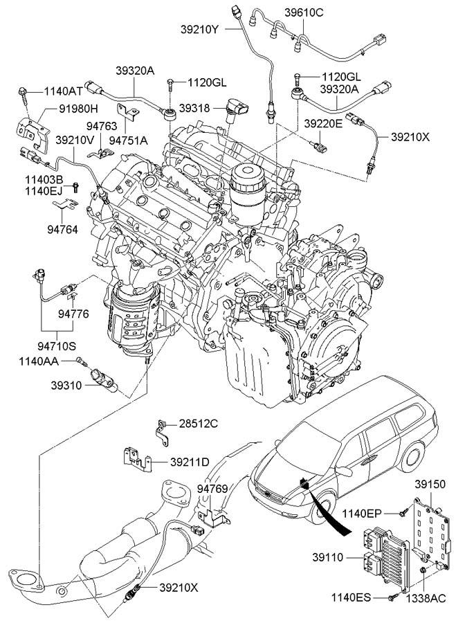 2007 Hyundai Entourage ELECTRONIC CONTROL UNIT (ECU)