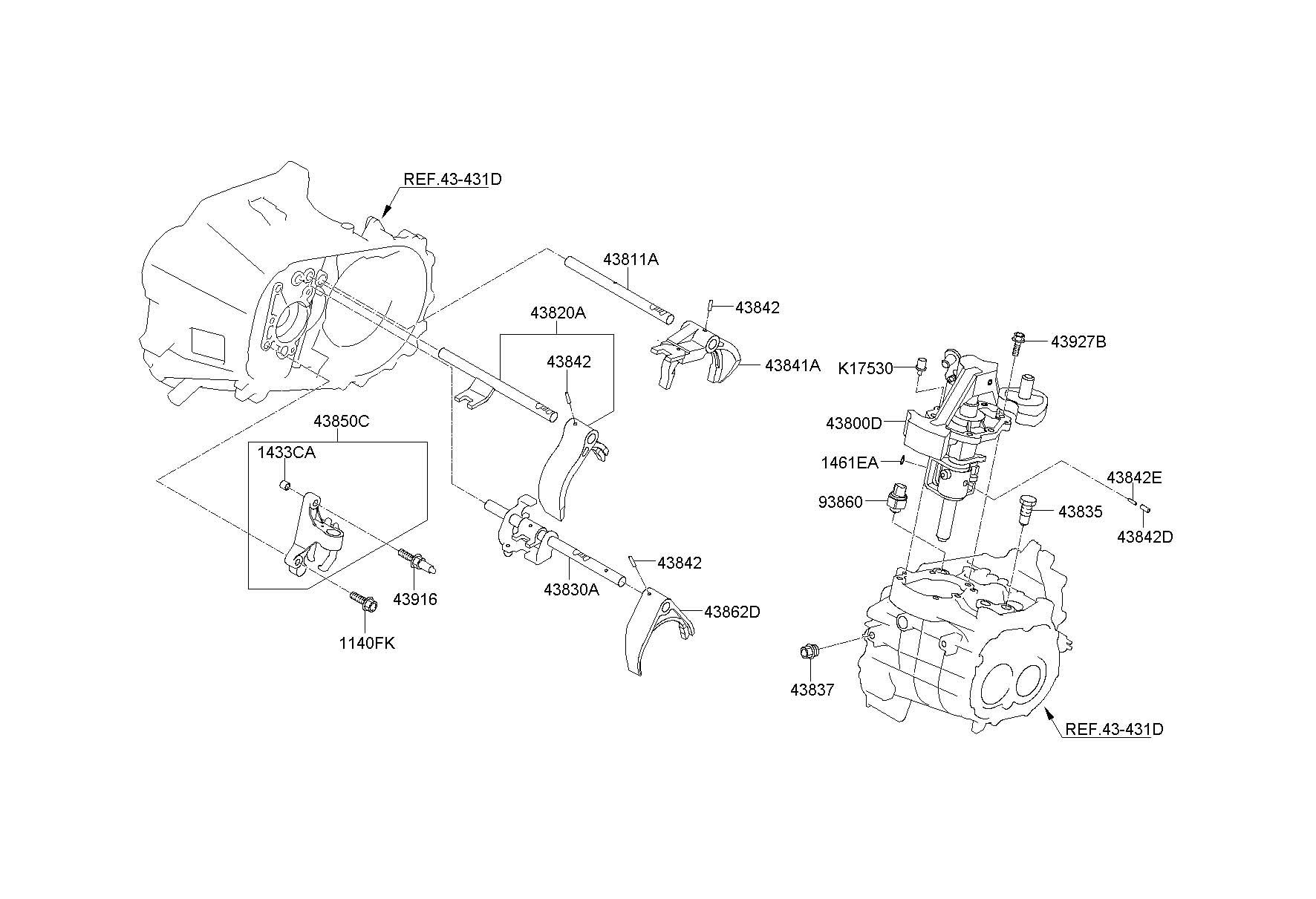 2013 Hyundai Accent GEAR SHIFT CONTROL-MANUAL