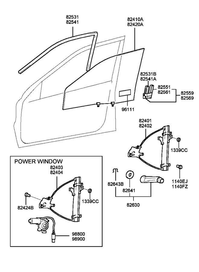 2000 Hyundai Sonata FRONT DOOR WINDOW REGULATOR & GLASS