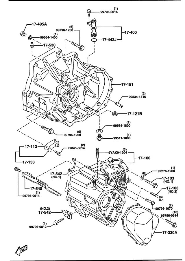 1996 Mazda Protege MANUAL TRANSMISSION CASE
