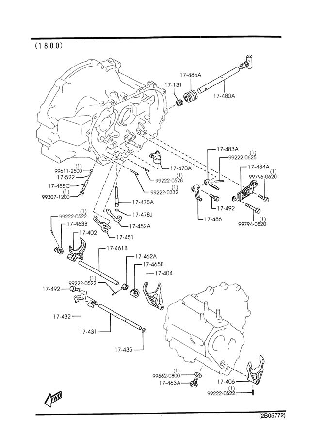 Mazda Protege MANUAL TRANSMISSION CHANGE CONTROL SYSTEM