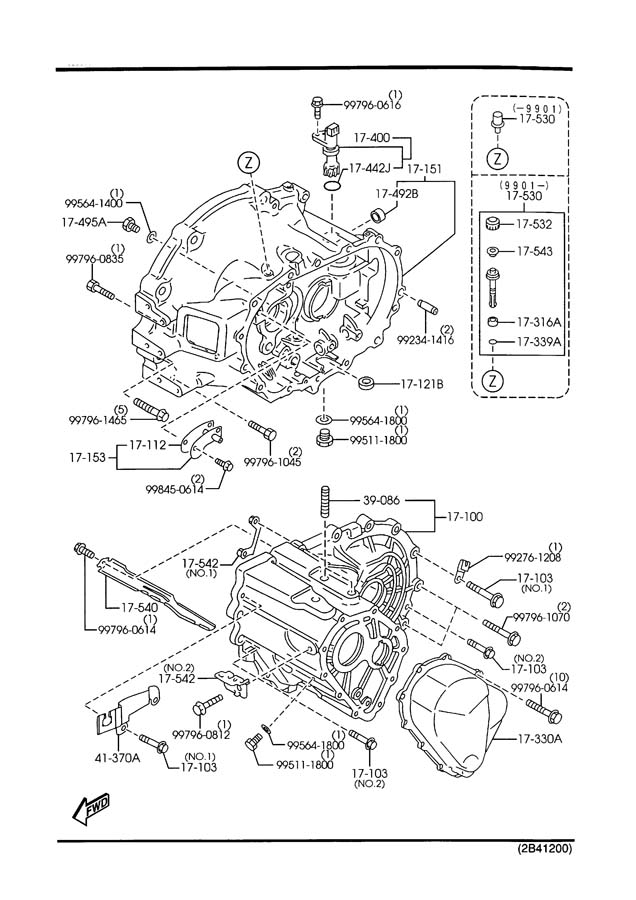 1999 Mazda Protege MANUAL TRANSMISSION CASE (1800CC)