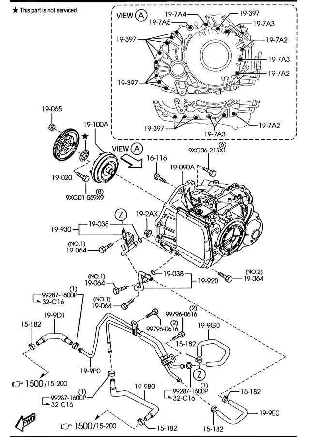 Service manual [Removing Torque Convertor 2007 Mazda