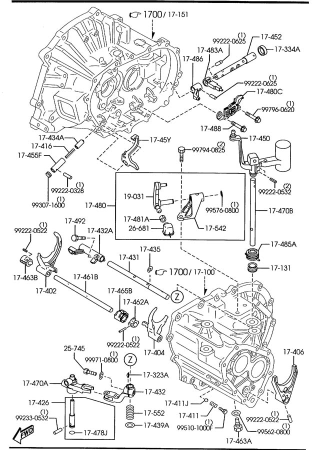 Mazda 3 MANUAL TRANSMISSION CHANGE CONTROL SYSTEM (5-SPEED)