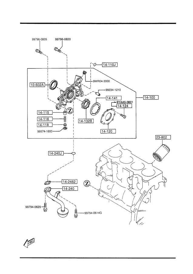 2002 Mazda Miata OIL PUMP & FILTER (2000CC)
