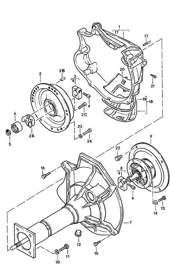 Porsche central tube automatic transmission