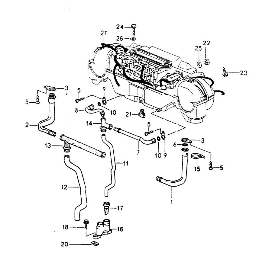 Porsche water drain tube mount wiring harness heater air