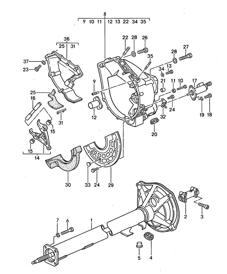 Porsche 968 manual transmission central tube