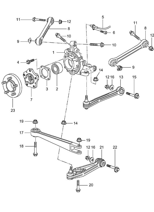 Porsche rear axle wheel carrier control arm wheel hub see