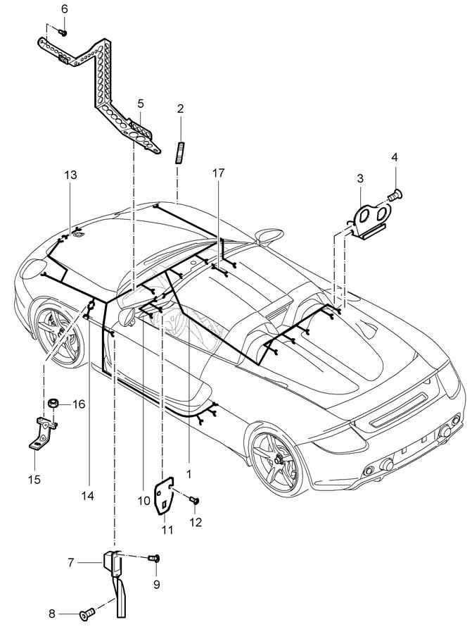 Porsche Carrera GT wiring harnesses passenger compartment