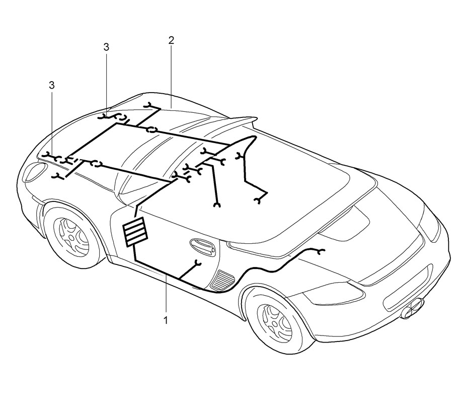 Porsche Boxster wiring harnesses passenger compartment