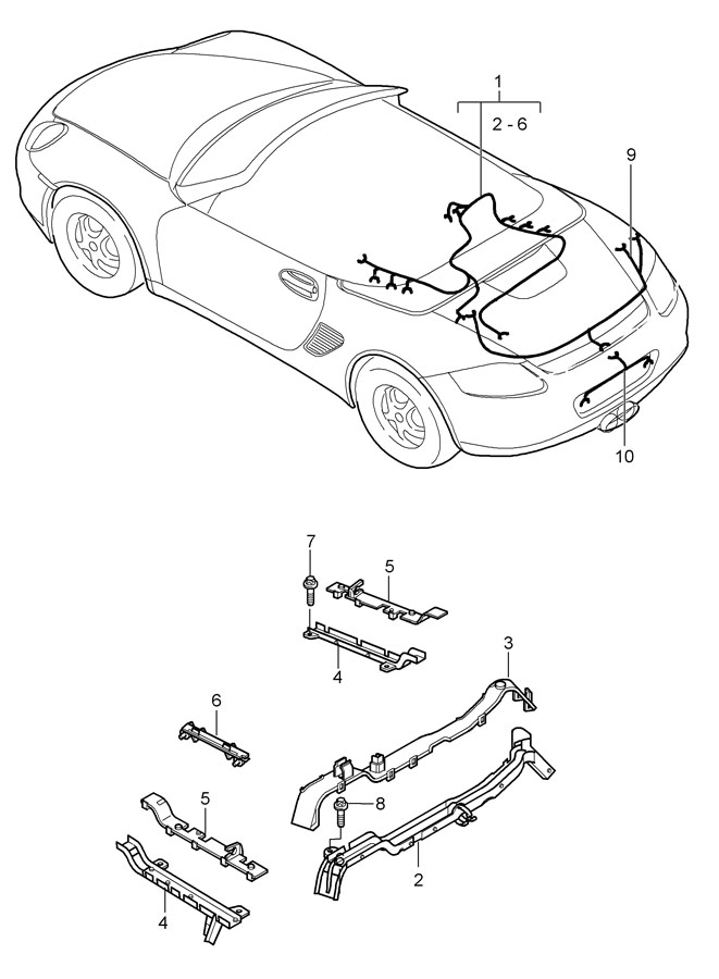 Porsche Boxster wiring harnesses engine rear end license
