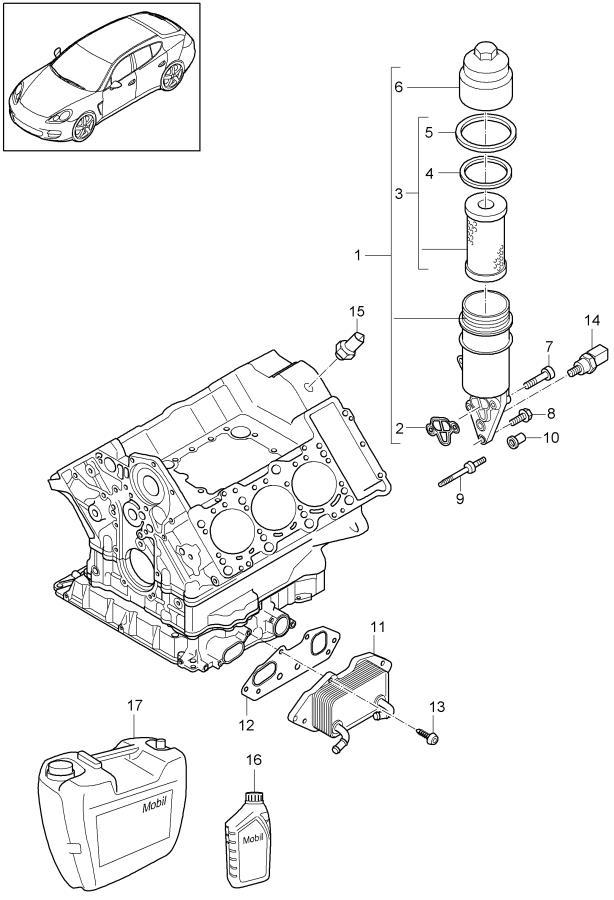 Porsche Panamera oil filter bracket oil cooler