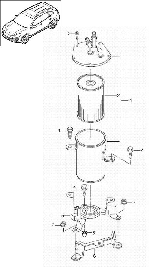 Porsche Cayenne fuel system fuel line fuel filter
