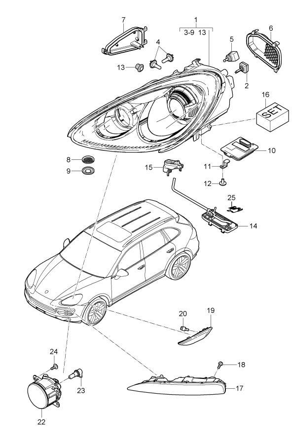 Porsche Cayenne headlamp side marker light fog headlamp