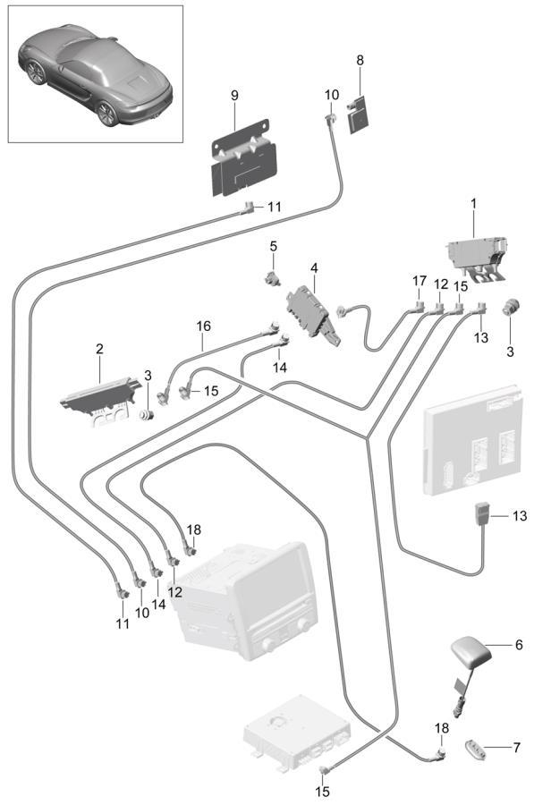 2013 Porsche Boxster antenna booster antenna connecting line