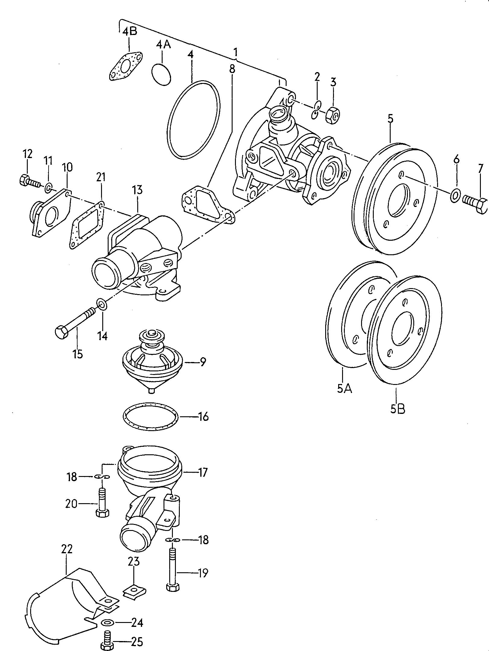 1985 Volkswagen Vanagon Water pump thermostat housing 1.9ltr.