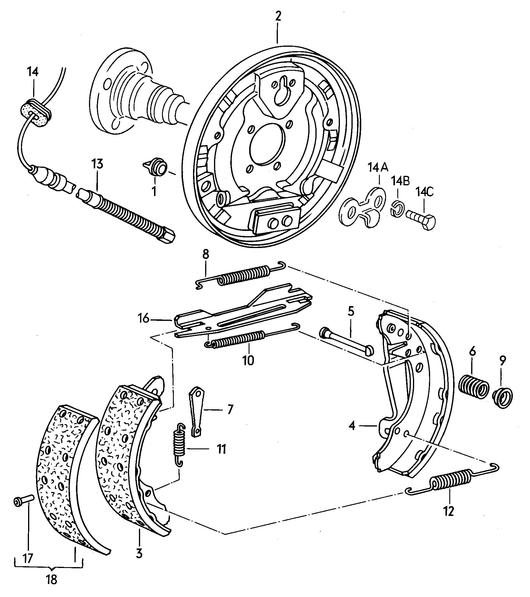 Caliper carrier brake shoe with lining for automatic