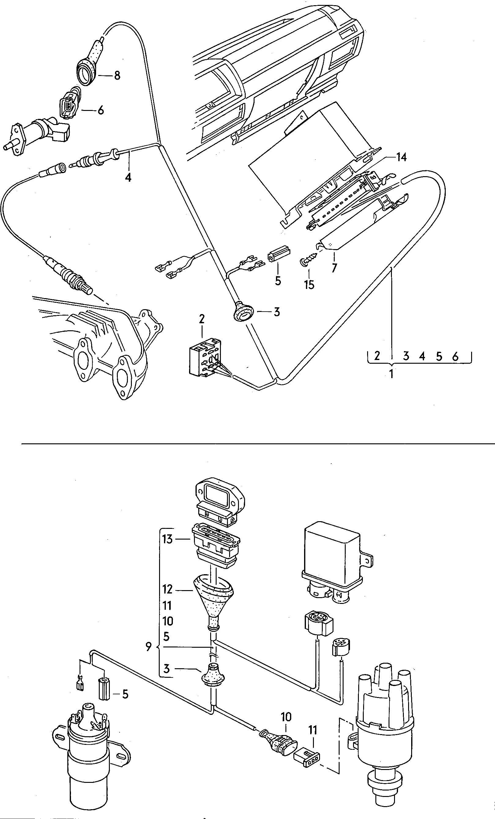 Volkswagen Vw Dasher Harness For Oxygen Sensor And Transistorized Ignition System