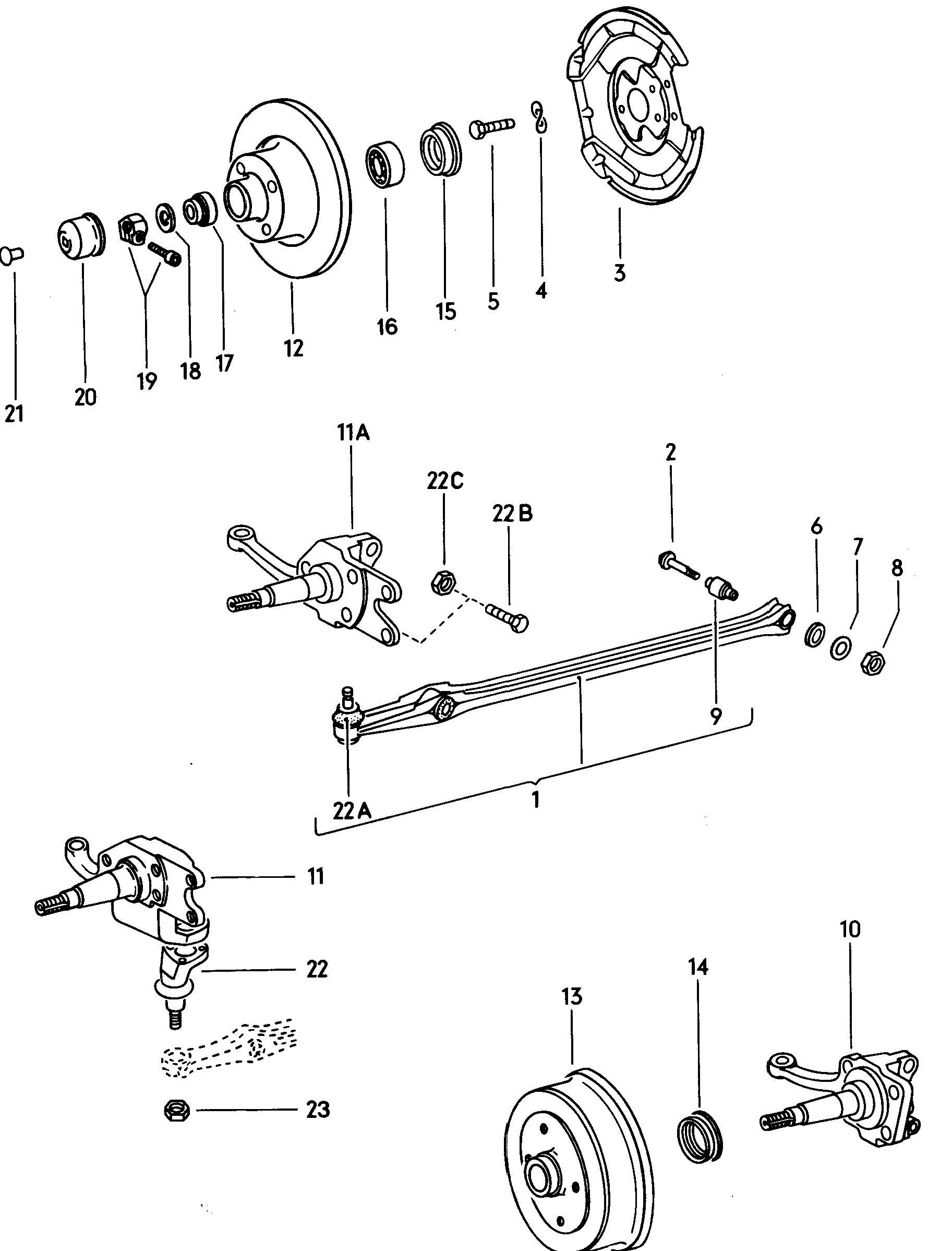 Volkswagen Beetle Track Control Arm Brake Drum Brake Disc